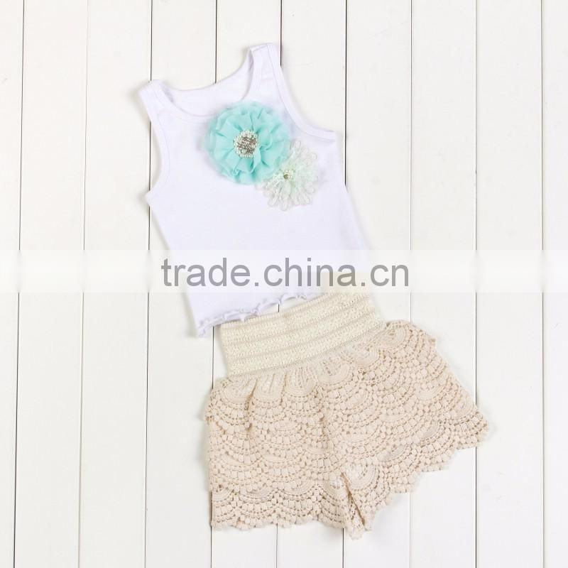 Children lace ruffle outfit two pieces baby girls clothing set children kids lovely suit white top with flower lace ruffle dress