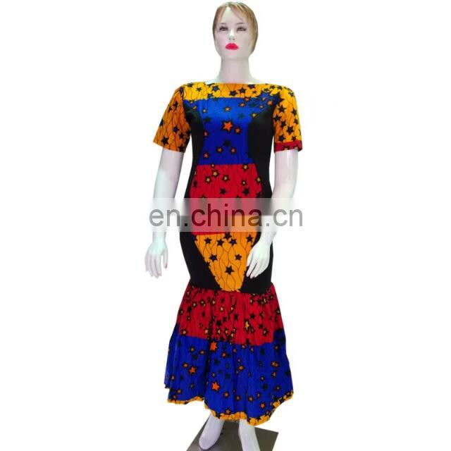 New arrival African style high quality wax fabric long dress
