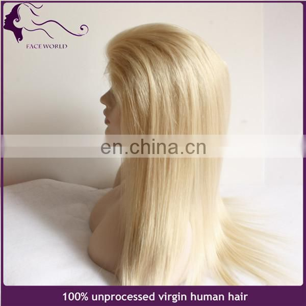 15 years Factory wholesale price human hair white color 60 full lace wig