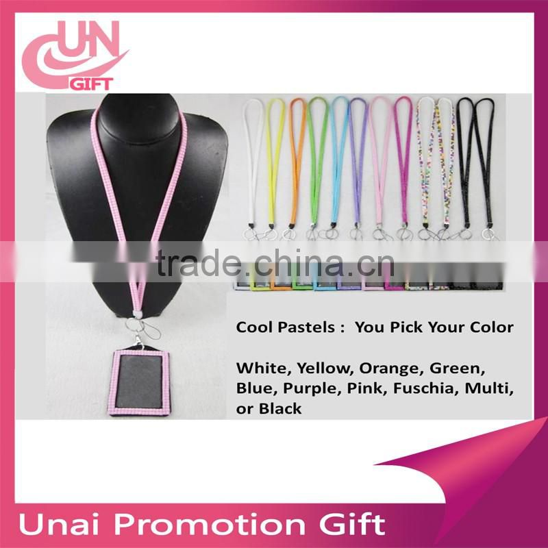 Fashion Multi-Color Rhinestone Crystal Bling Necklace LANYARDs Key Chain Key Holder ID Badge Holder