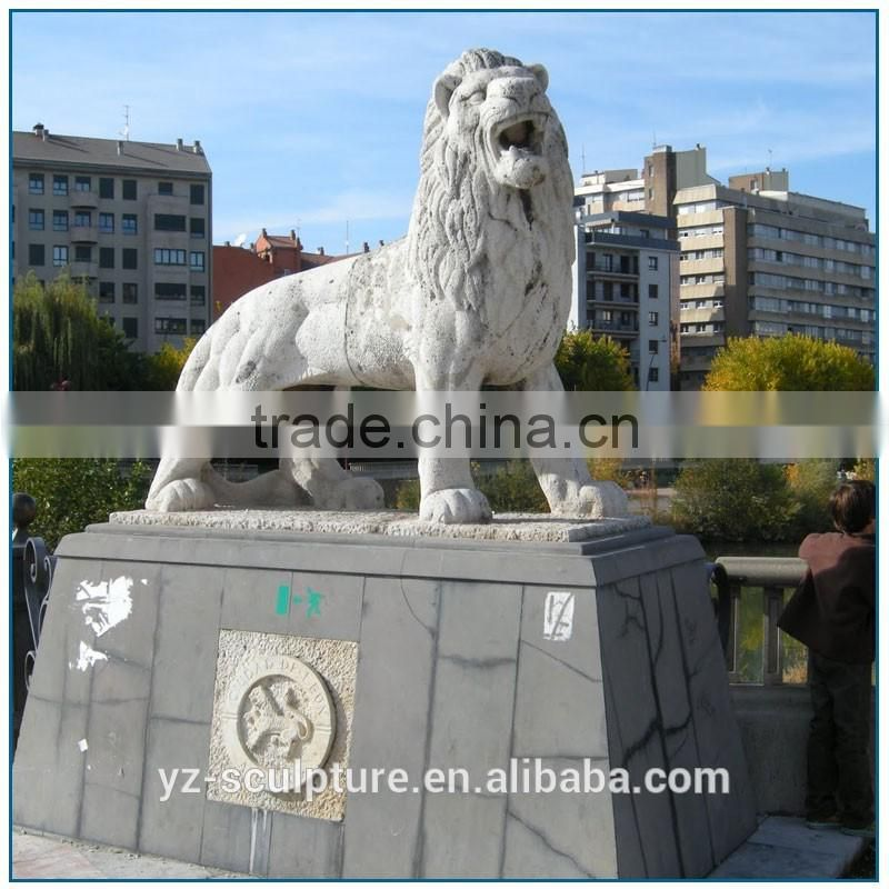 outdoor large stone lion statue for sale