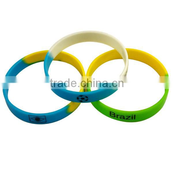 High Quality!2014 Brazil World Cup Propaganda Tool Promotional Sports Silicone Bracelets