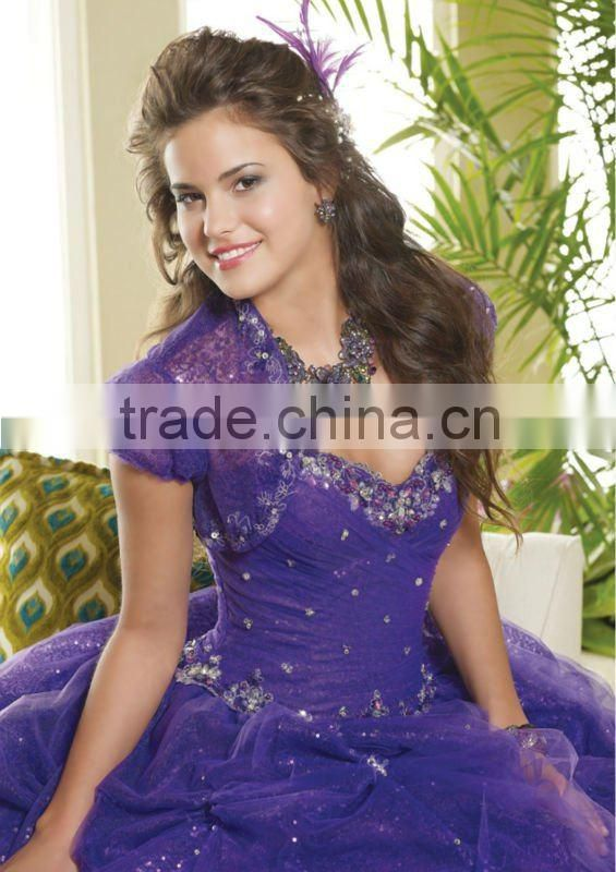 Unique short sleeve beaded appliqued sweetheart sequined tulle overlay custom-made Quinceanera dresses CWFab4392