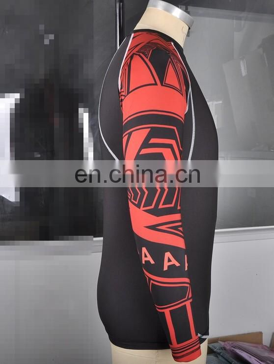 custom made blank sublimation compression mma rash guard for man and women