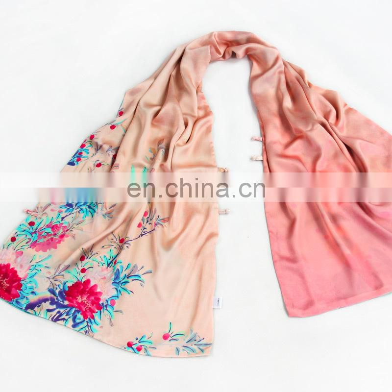 Pink scarf with Red flowers 100% pure silk women shawl