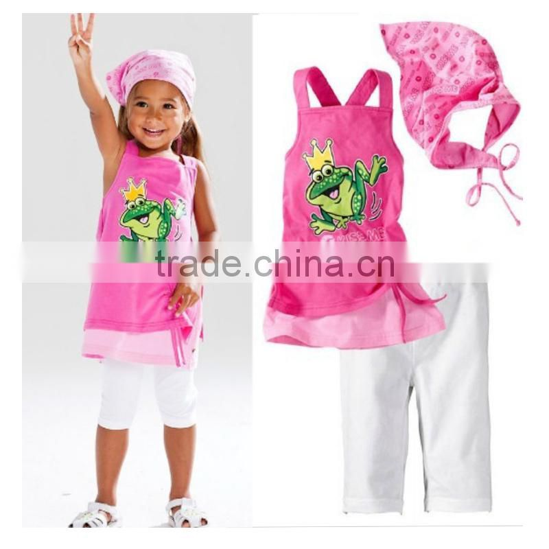 brand new summer 3pcs clothing sets girls frog clothes suits baby outfits with hairband kids summer clothes
