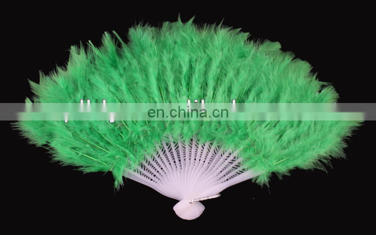 wholesale green feather fans