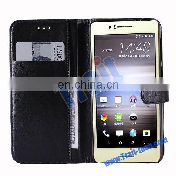 Paypal Accepted Glossy Wallet Magnetic Flip Stand PC+ PU Leather Case for HTC Desire 728 with Card Holder