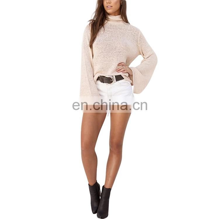 Women Sexy Trumpet Sleeve Turtleneck Knitted Ladies Tops Latest Design T-Shirt