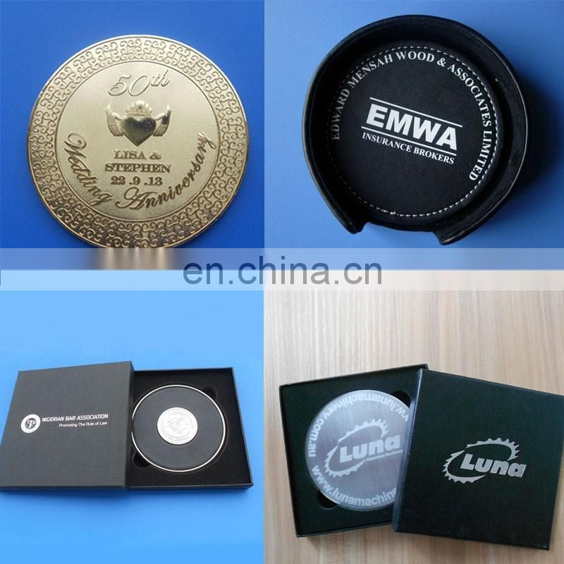 High quality square shape custom logo golden photo etching metal cup coaster with felt