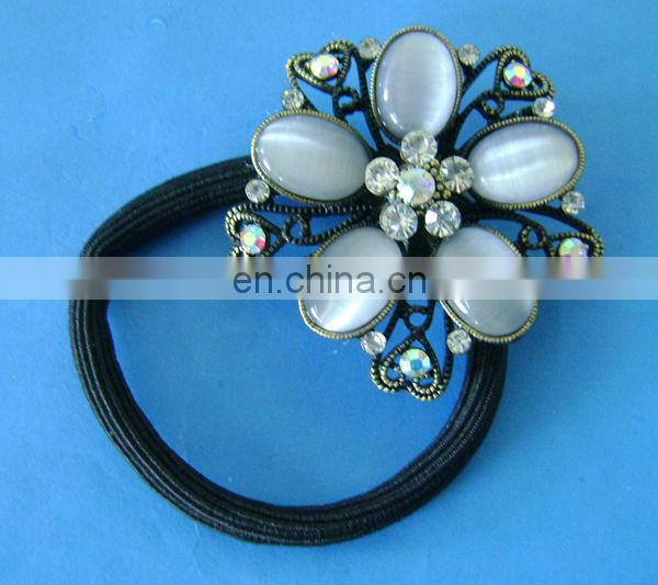 Fancy rhinestone crystal elastic ponytail holder hair elastics