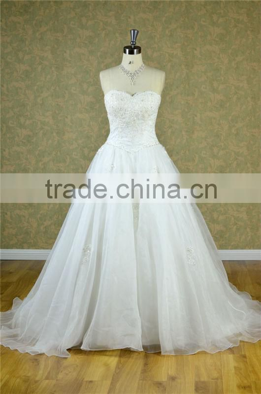2014 sweetheart neckline crystal bead lace princess wedding dress