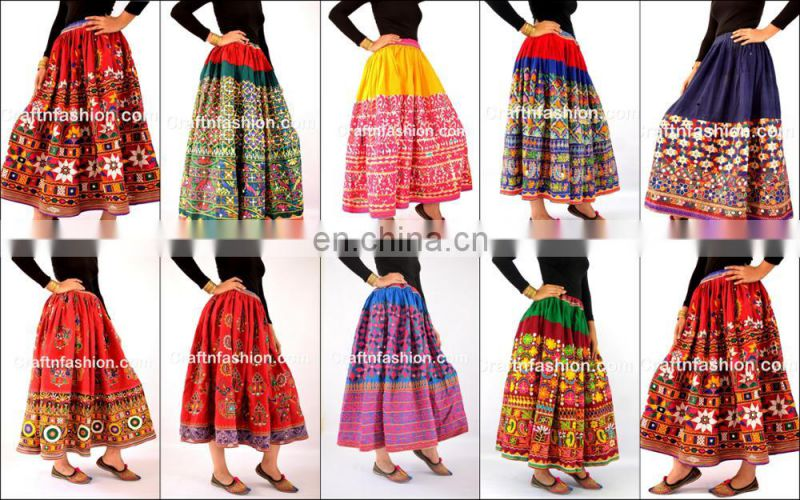 Tribal Ethnic Belly Dance Floral Skirt- Indian old VINTAGE Gujarati kutchi Skirt - Vintage Embroidered Multi boho banjara skirts