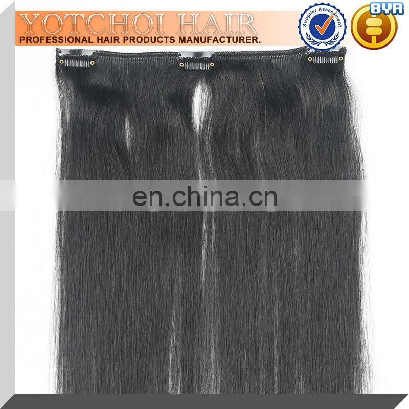100% Human hair natural color clip in hair extensions for african american