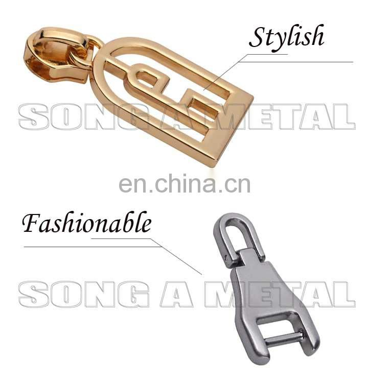 Gunmetal zipper puller handbag accessories with high quality metal zipper slider designed for garment
