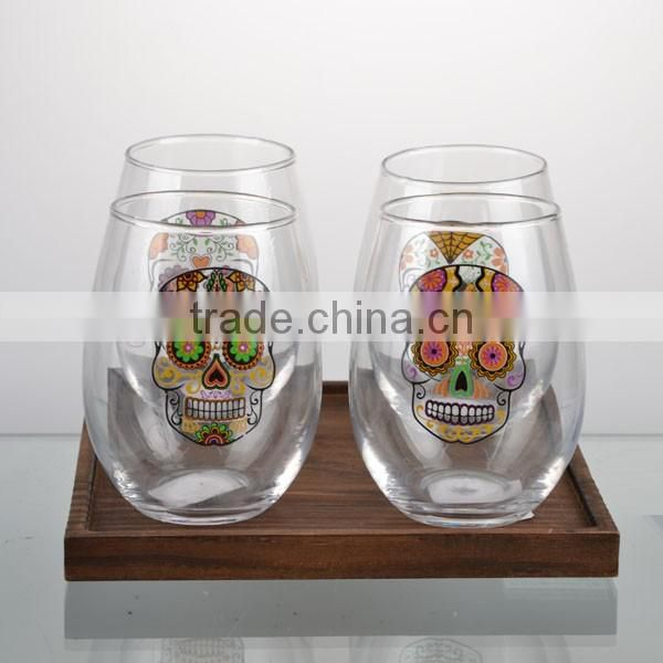 2016newest hallowmas paper transfer skull glass cup set with wooden stand