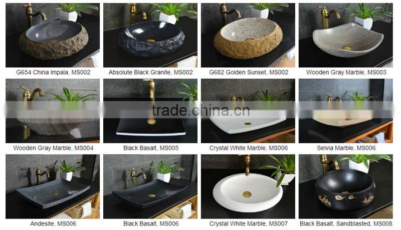 Honed white marble black portable sink kitchen home decor NTS-BA005Y