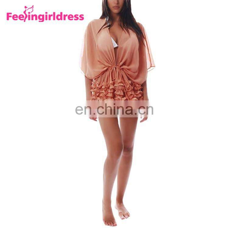 Pink Pleated Hem Beach Cover Up Set Party Wrap Cover Up Beach Dress