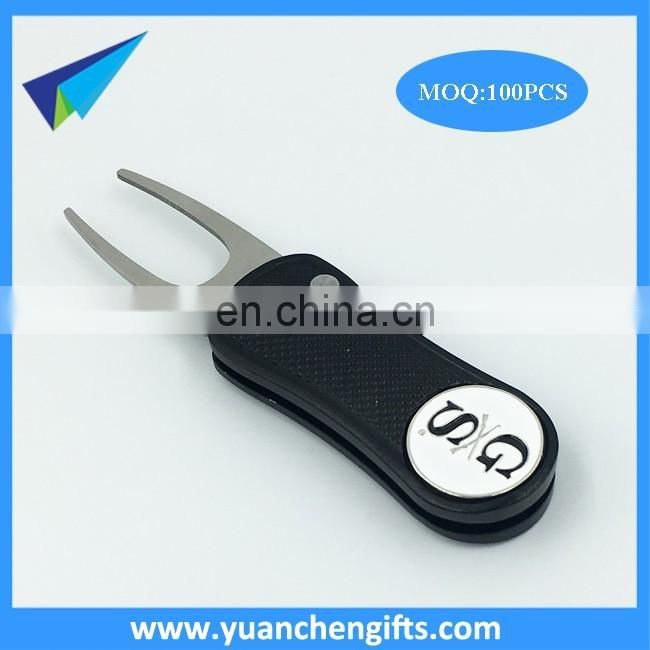 high quality personalized golf pitchfork /stainless steel divot tool ball marker custom