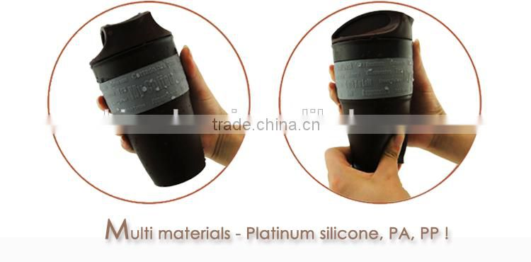 New Product 350ML / 12OZ Foldable, Collapsible, Heat Resistance, Silicone travel coffee Mug, BPA free, FDA, LFGB