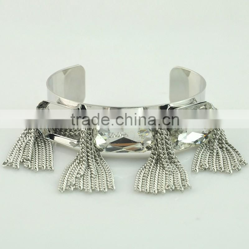 Wholesale Women Silver Tassel New Silver Design Ladies Bracelet Model Silver Plate Crystal Bracelets Bangles
