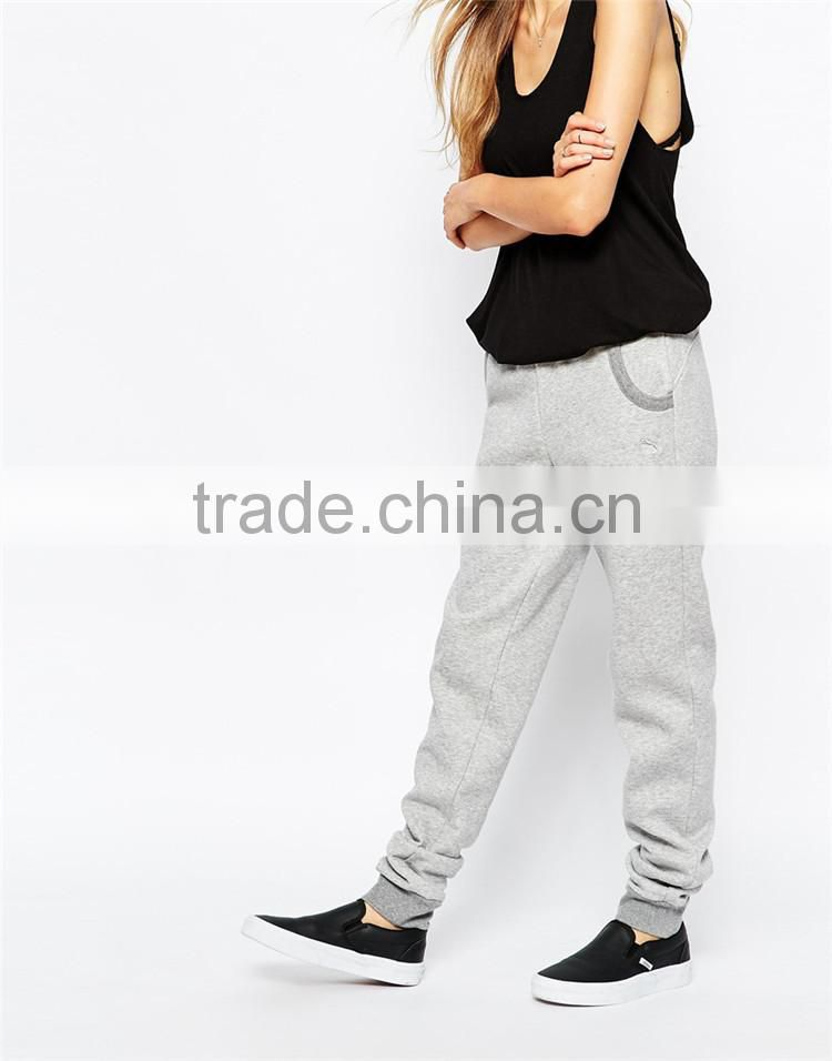 Womens new design plain grey cotton baggy trousers new design