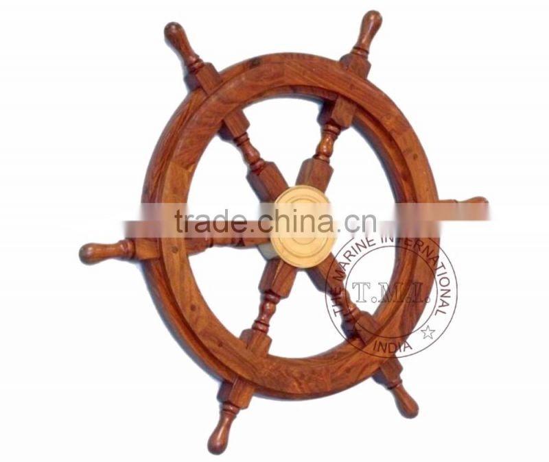 "SHIP WHEEL 18"" ~ NAUTICAL WOODEN SHIP WHEEL IN WOODEN POLISHED STYLE"