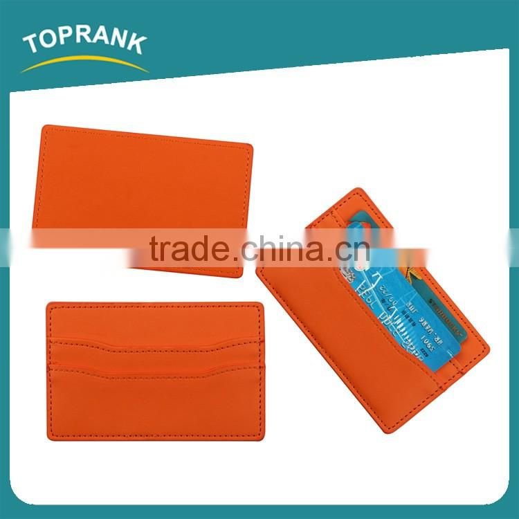 Toprank Hot Sale Simple Business Flat Wallet Card Holder Slim Card Holder Wallet Minimalist Vertical Pu Sleeve Card Holder