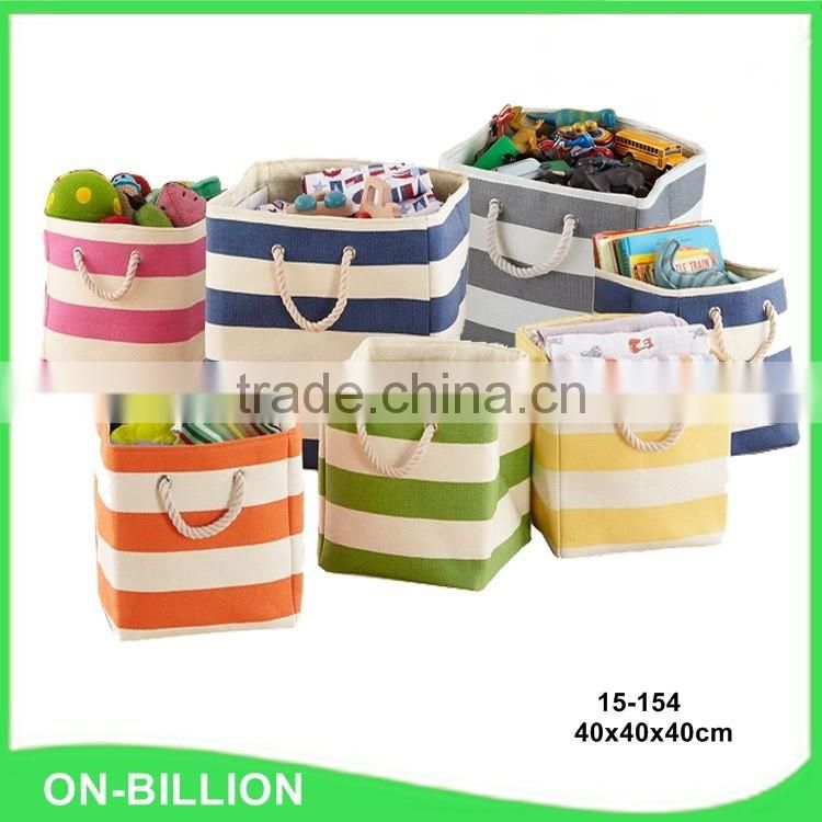 Wholesale striped colored collapsible laundry basket