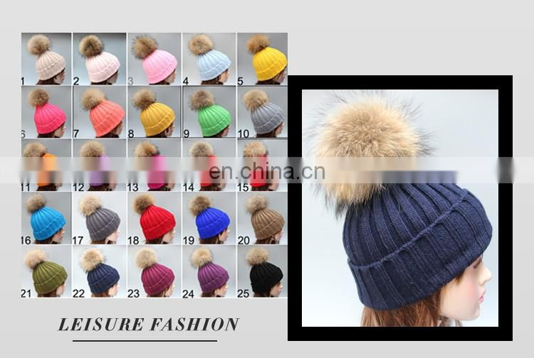 Fluffy large fur pompom hats real raccoon fur knitted hats wholesale winter hats