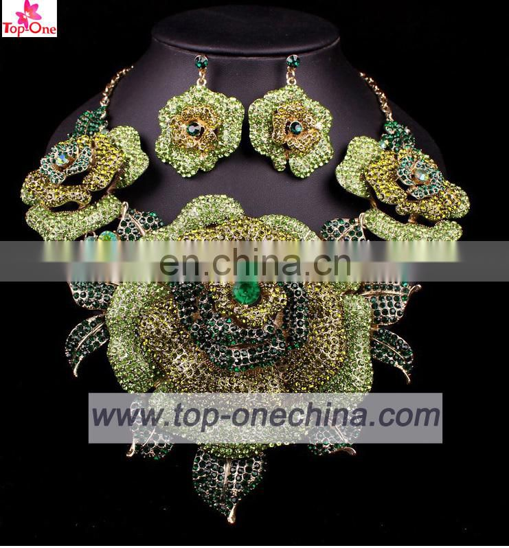 Handmade flower design jewelry set for ladygold plated necklace for wedding Lady fashion earings set