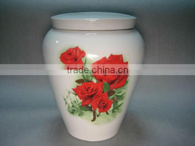 Pottery Cylinder Urns With Flower Printing