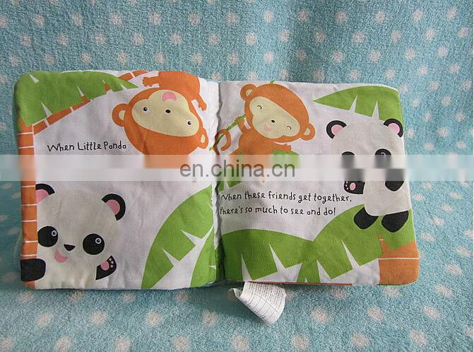 custom fashion kid cognitive fabric book plush animals