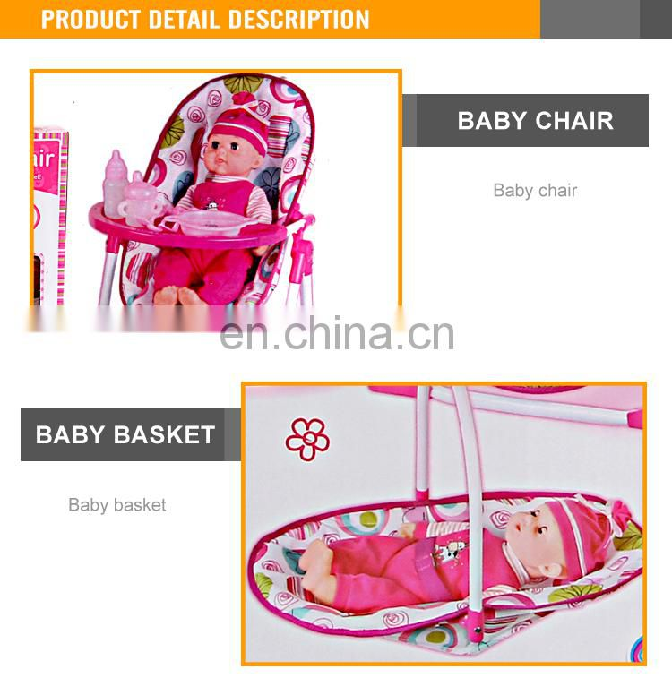 2015 Most Popular 14 inch cotton body doll with sounds and dining chair newborn baby doll