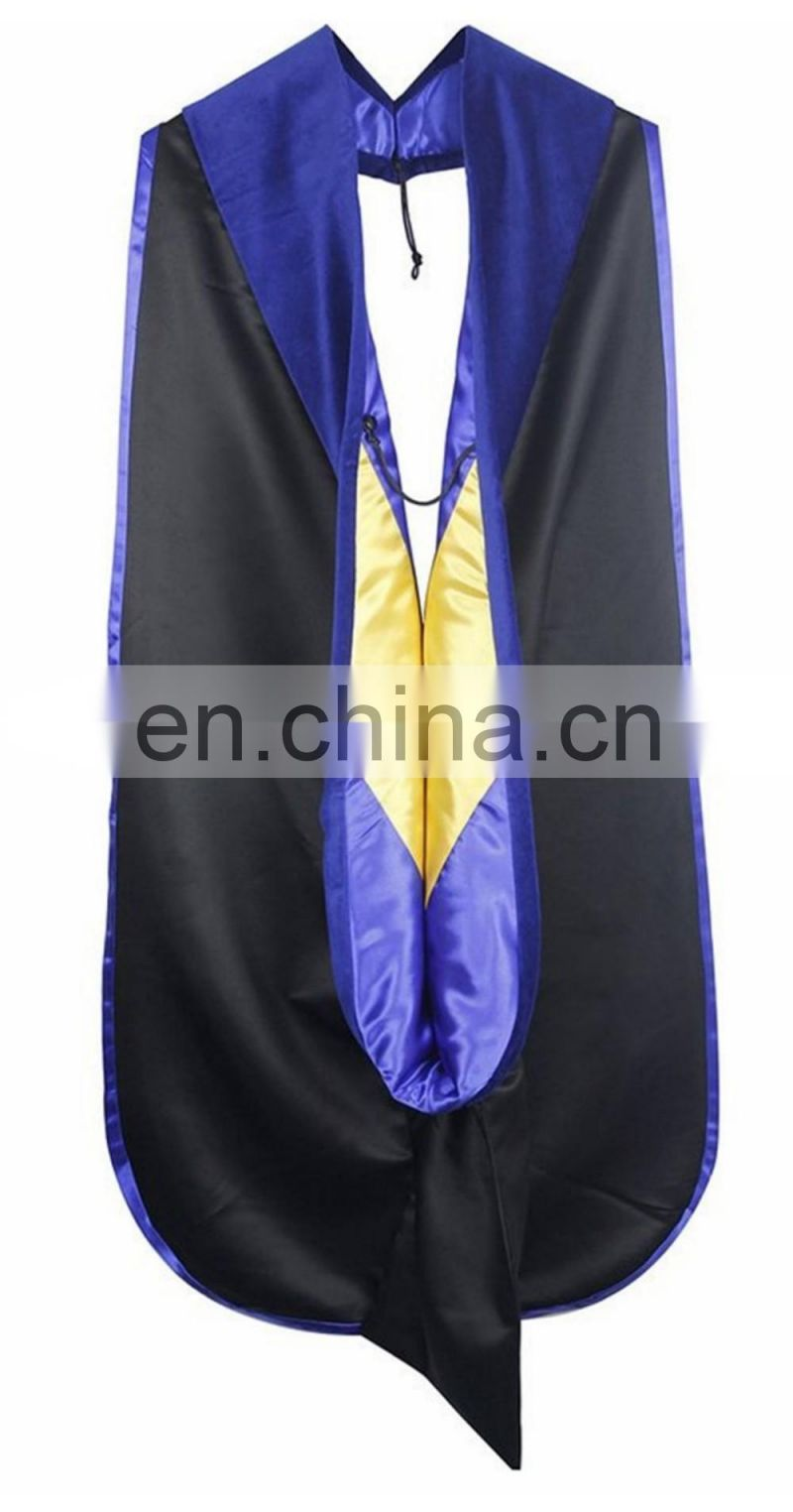2016 Hot sale High quality Doctoral Graduation Hood with Royal Blue velvet