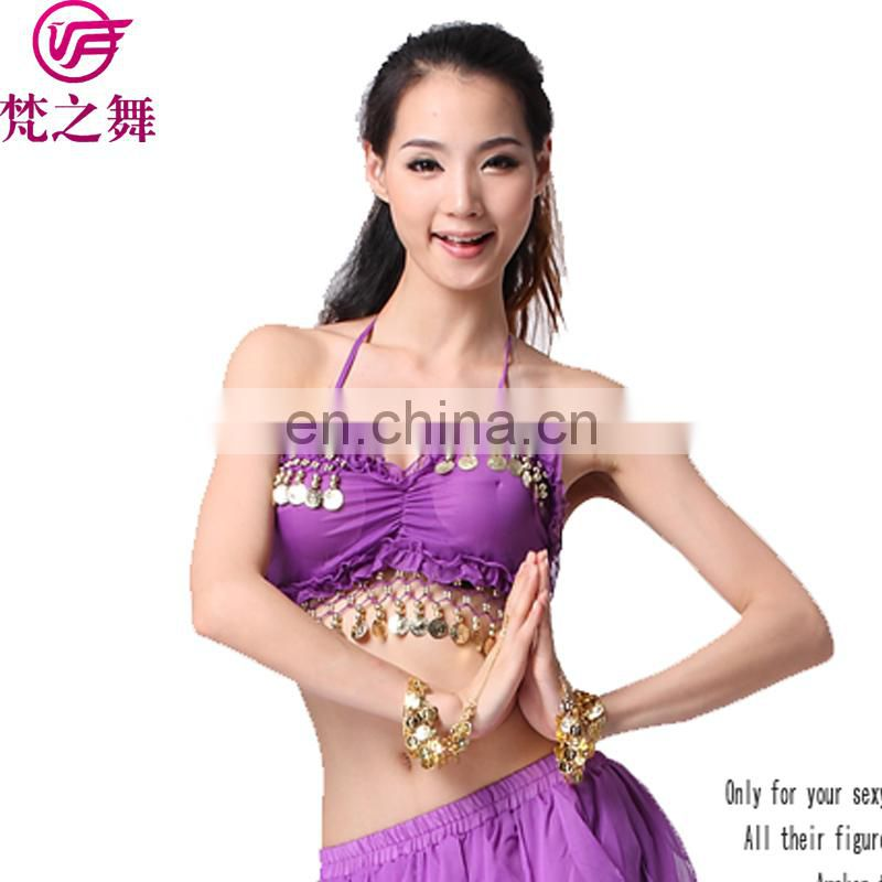 S-3014 Wholesale cheap sexy arabic gold coins chiffon women belly dance wear tops