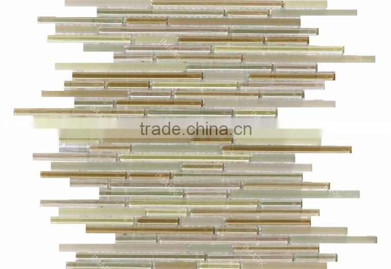 IMARK Lavender Linear Glass Mosaic Brown Color Glazed Glass Mosaic Mix Misty Glass Mosaic For Kitchen Tile