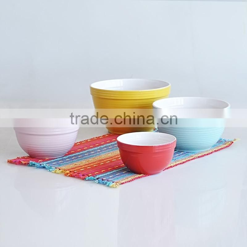 3pcs mixing bowl set stoneware with 2-tone solid color