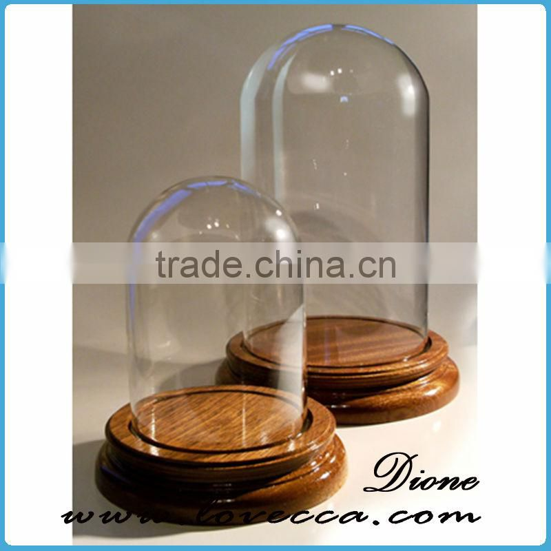 High quality display dome wholesale glass dome with wooden base