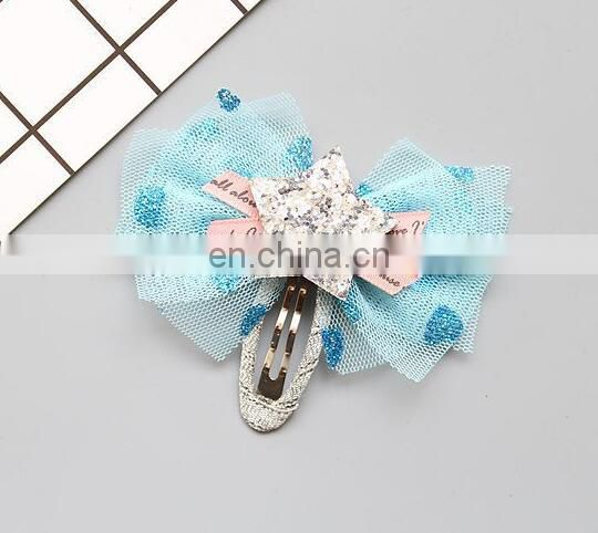 Tulle Bow Beaded Hair Clip Baby Bow Star Snap Clip Glitter Sparkling Baby Barrettes