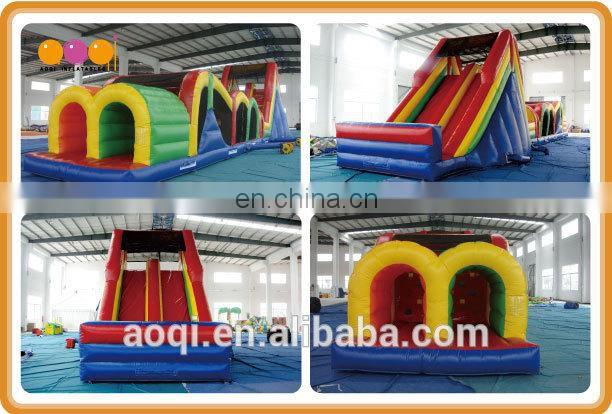 AOQI with free EN14960 certificate double lane inflatable obstacle course child toy inflatable playland for promotion