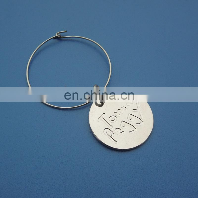 Golden round shape customized laser logo wine charms for wine glass wine bottles