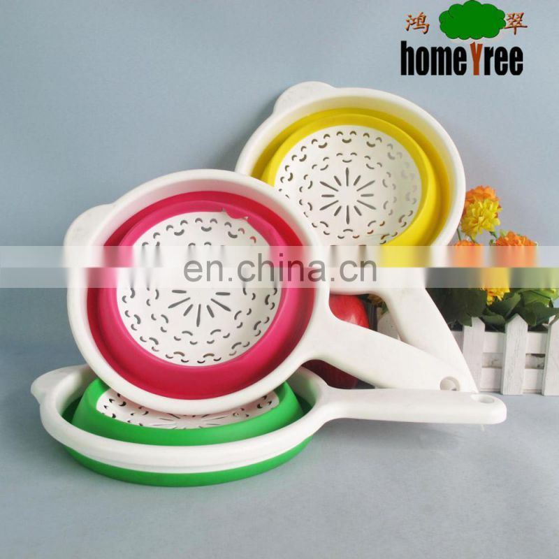 Plastic Round Kitchen Rice Vegetable Foldable Seive Stainer With Handle