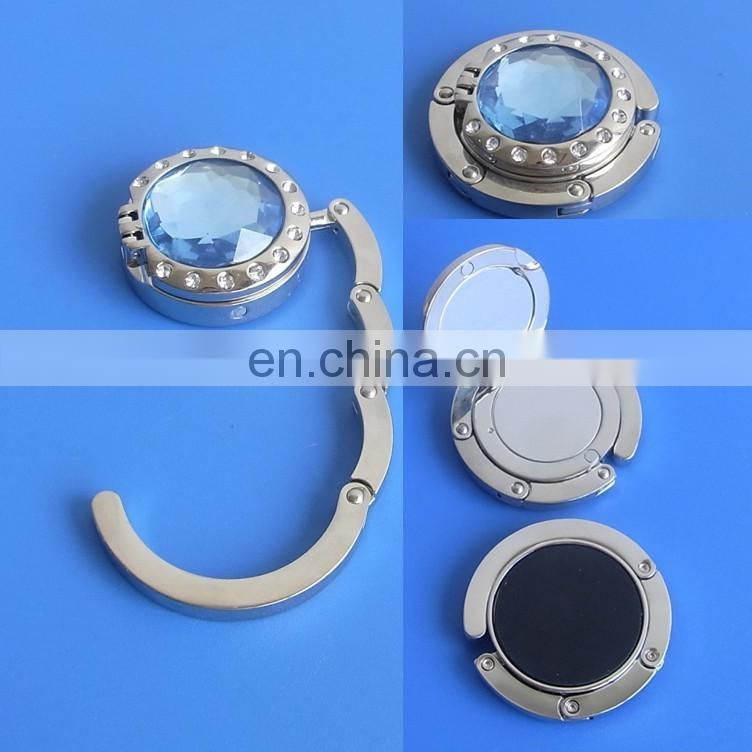 Fashionable Round Shape Diamond Bag Hanger With Mirror