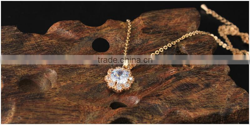 Artificial crystal gold ring necklace 2pcs set jewerly stainless steel