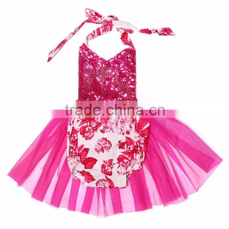 2016 New Design High Quality Wholesale Baby Clothes ,summer children Clothes with chiffon and cotton romper