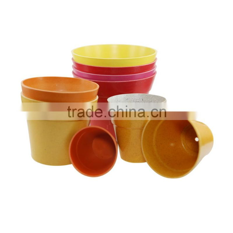Different kinds of compostable new style bamboo fiber flower pots wholesale