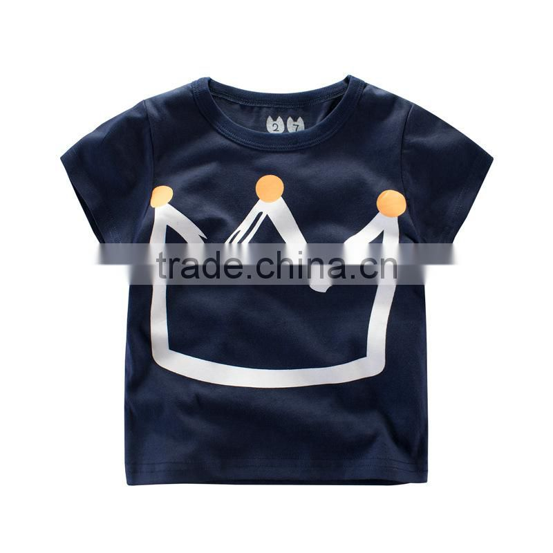 2017 New Design Kids Boy Clothing Royal Crown Printed Boys T Shirt