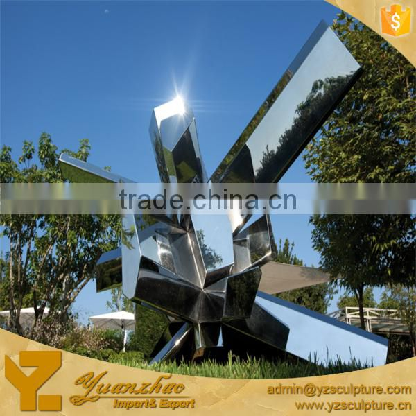 large stainless steel modern mirror art sculpture for garden decor