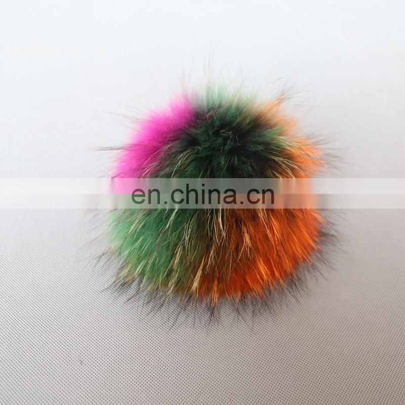 Colorful raccoon fur pom pom rainbow fur ball keychain